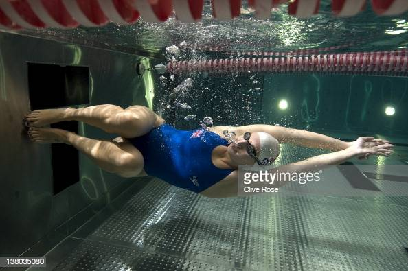 World and Olympic champion swimmer Rebecca Adlington swims during a photo session on September 7 2011 in Nottingham England