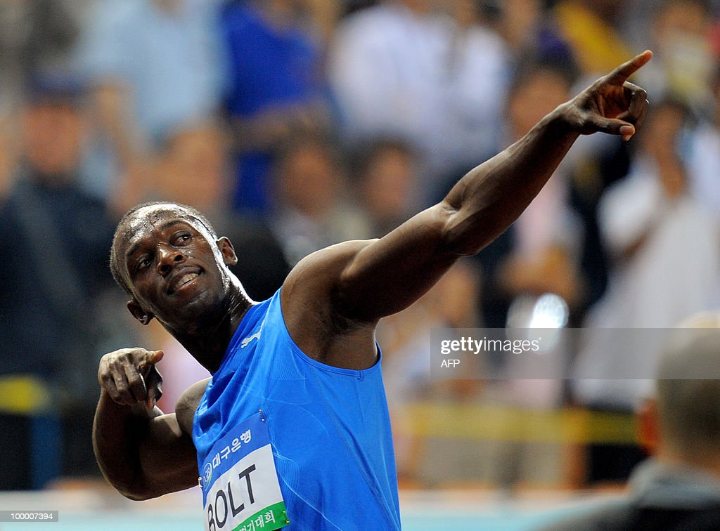 World and Olympic triple gold medallist Usain Bolt from Jamaica reacts after the men's 100 meter event of the Daegu Pre-Championships Meeting in Daegu, southeast of Seoul, on May 19, 2010. Bolt won the event with a time of 9.86 seconds.