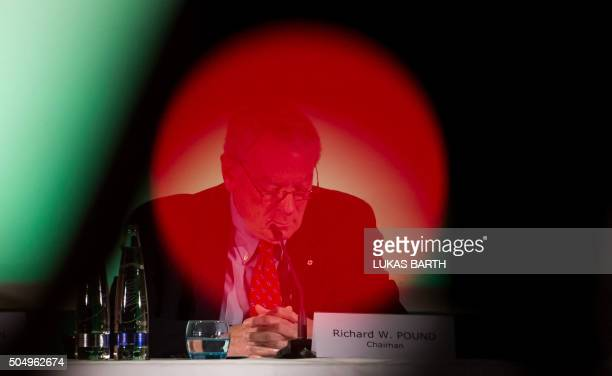 World AntiDoping Agency founding President Richard W Pound attends a press conference on the report of the World AntiDoping Agency concerning...