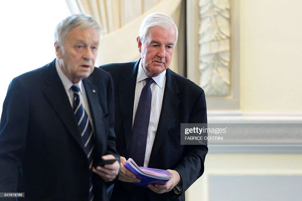 World AntiDoping Agency president Craig Reedie arrives with International Ski Federation President GianFranco Kasper at an Olympic summit meeting on...