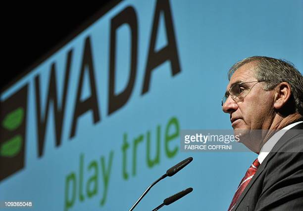 World AntiDoping Agency President John Fahey delivers a speech during a WADA Media Symposium on January 19 2010 at the Olympic Museum in Lausanne AFP...