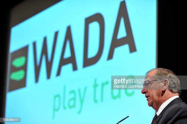 World AntiDoping Agency president John Fahey delivers his speech during a WADA Media Symposium at the Olympic Museum on February 24 2008 in Lausanne...