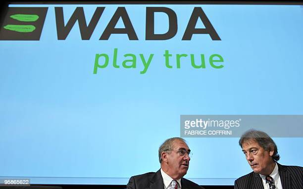 World AntiDoping Agency President John Fahey speaks with WADA DirectorGeneral David Howman during a WADA media symposium on January 19 2010 at the...