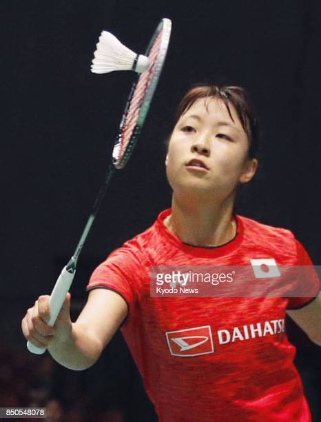 World badminton champion Nozomi Okuhara of Japan takes on her world championships final opponent Pusarla Sindhu of India in a Japan Open women's...