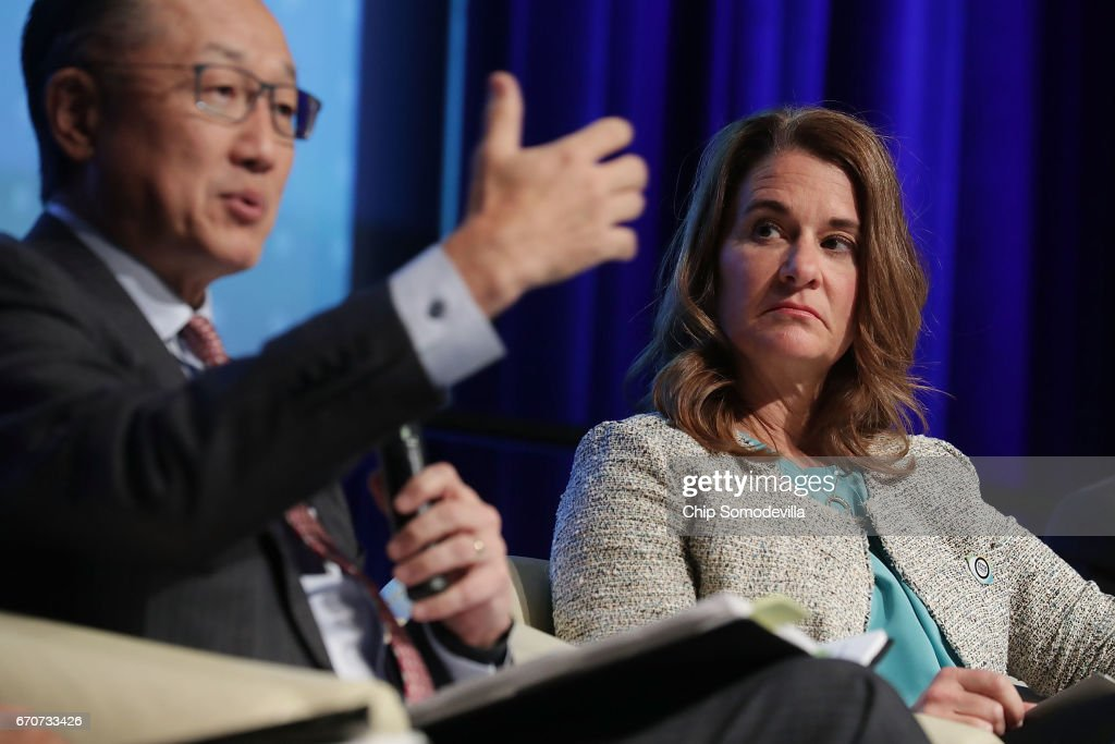 World Bank Group President Jim Yong Kim (L) and Gates Foundation Co-Chair Melinda Gates participate in a panel discussion during the World Bank Group and International Monetary Fund Spring Meetings April 20, 2017 in Washington, DC. The panel discussion, titled 'How Investing in Adolescents Today Can Change the World of Tomorrow,' focused on the the World Bank Group's Generation Now initiative.