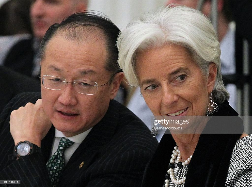 World Bank Group President <a gi-track='captionPersonalityLinkClicked' href=/galleries/search?phrase=Jim+Yong+Kim&family=editorial&specificpeople=2302483 ng-click='$event.stopPropagation()'>Jim Yong Kim</a> (L) and Managing Director of the International Monetary Fund <a gi-track='captionPersonalityLinkClicked' href=/galleries/search?phrase=Christine+Lagarde&family=editorial&specificpeople=566337 ng-click='$event.stopPropagation()'>Christine Lagarde</a> (R) attend a meeting of the G20 finance leaders meet in the Kremlin February 15, 2013 in Moscow, Russia. The G20 countries, that make up 90 percent of the worlds gross domestic product, is reportedly set to be dominated by the issue of counties using their currency fro economic gain over the weekend of meetings.