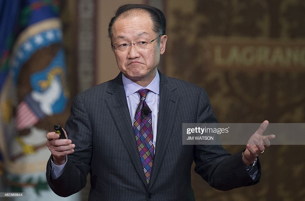 World Bank Group President Jim Yong Kim delivers Georgetown University's inaugural Global Futures lecture on the Ebola virus in Washington, DC, January 27, 2015. AFP PHOTO/JIM WATSON