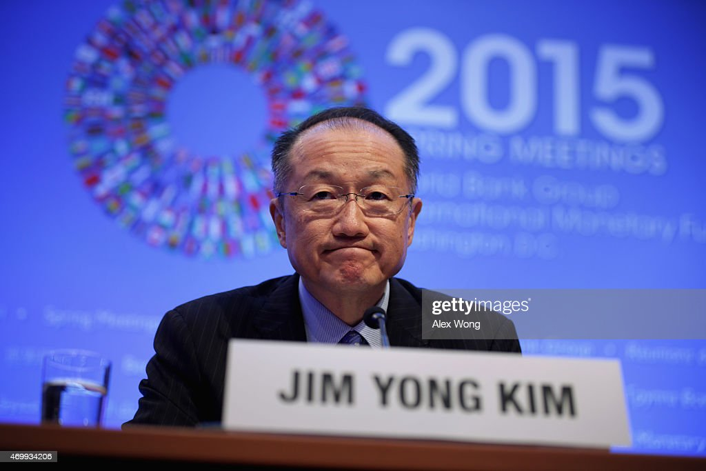 World Bank Group President Jim Yong Kim speaks during a media briefing April 16, 2015 in Washington, DC. The World Bank Group and the International Monetary Fund (IMF) are holding their 2015 Spring Meetings.