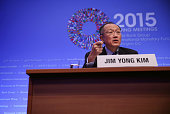 World Bank Group President Jim Yong Kim speaks during a media briefing April 16 2015 in Washington DC The World Bank Group and the International...