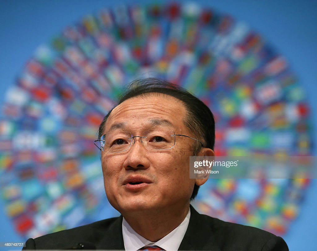 World Bank Group President Jim Yong Kim speaks during a media briefing at the IMF Headquarters on April 10 2014 in Washington DC Mr Kim spoke about...