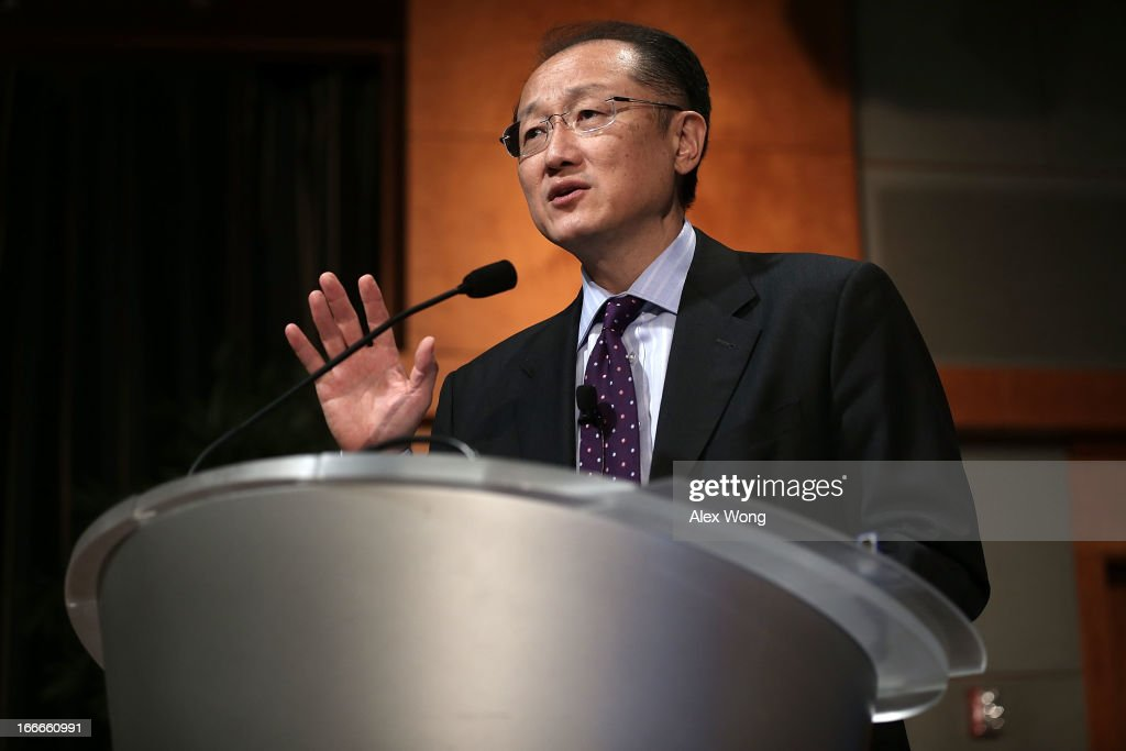 World Bank Group President <a gi-track='captionPersonalityLinkClicked' href=/galleries/search?phrase=Jim+Yong+Kim&family=editorial&specificpeople=2302483 ng-click='$event.stopPropagation()'>Jim Yong Kim</a> speaks during an event on 'The Private Sector and Ending Poverty' April 15, 2013 at the International Finance Corporation in Washington, DC. The World Bank Group and the International Monetary Fund will hold the annual Spring Meetings from April 19 t0 April 21.