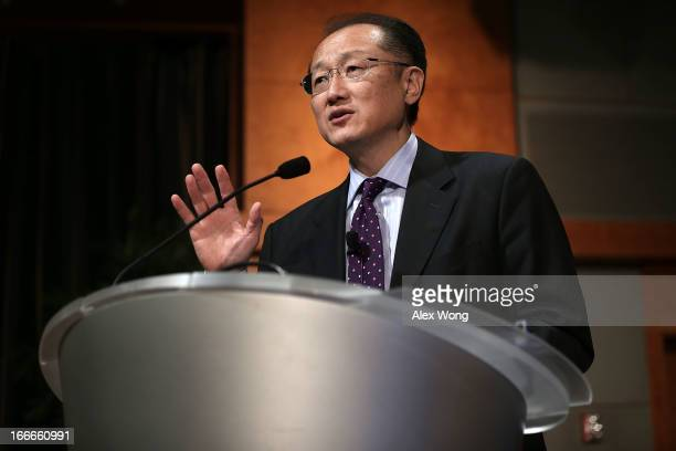 World Bank Group President Jim Yong Kim speaks during an event on 'The Private Sector and Ending Poverty' April 15 2013 at the International Finance...