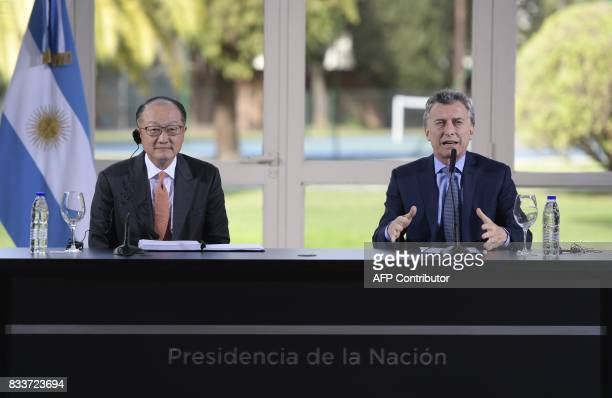 World Bank President Jim Yong Kim and Argentina's President Mauricio Macri give a press conference at the Olivos presidential residence in Olivos...