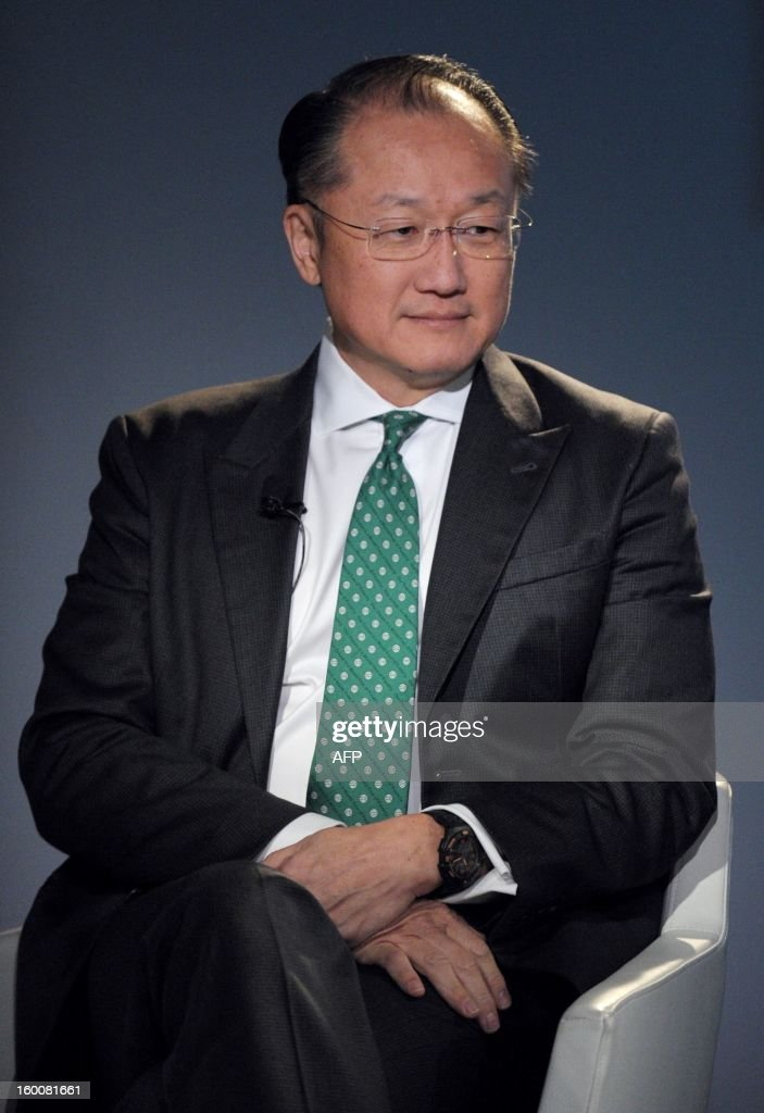 World Bank President Jim Yong Kim attends on January 26, 2013, the World Economic Forum (WEF) meeting in the Swiss resort of Davos. The WEF will see top politicians and business leaders pursue talks on whether they have seen the back of the global financial crisis.