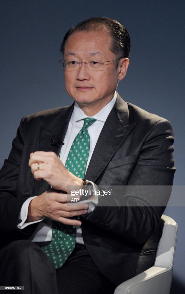 World Bank President Jim Yong Kim attends on January 26, 2013, the World Economic Forum (WEF) meeting in the Swiss resort of Davos. The WEF will see top politicians and business leaders pursue talks on whether they have seen the back of the global financial crisis. AFP PHOTO ERIC PIERMONT