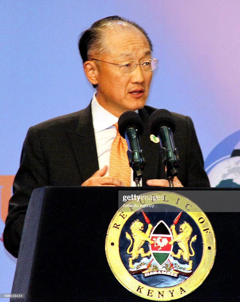 World Bank President Jim Yong Kim delivers a speech during the sixth Tokyo International Conference on African Development at Kenyatta International...