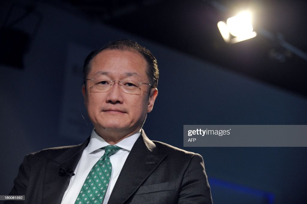 World Bank President Jim Yong Kim poses on January 26, 2013, during the World Economic Forum (WEF) meeting in the Swiss resort of Davos. The WEF will see top politicians and business leaders pursue talks on whether they have seen the back of the global financial crisis.