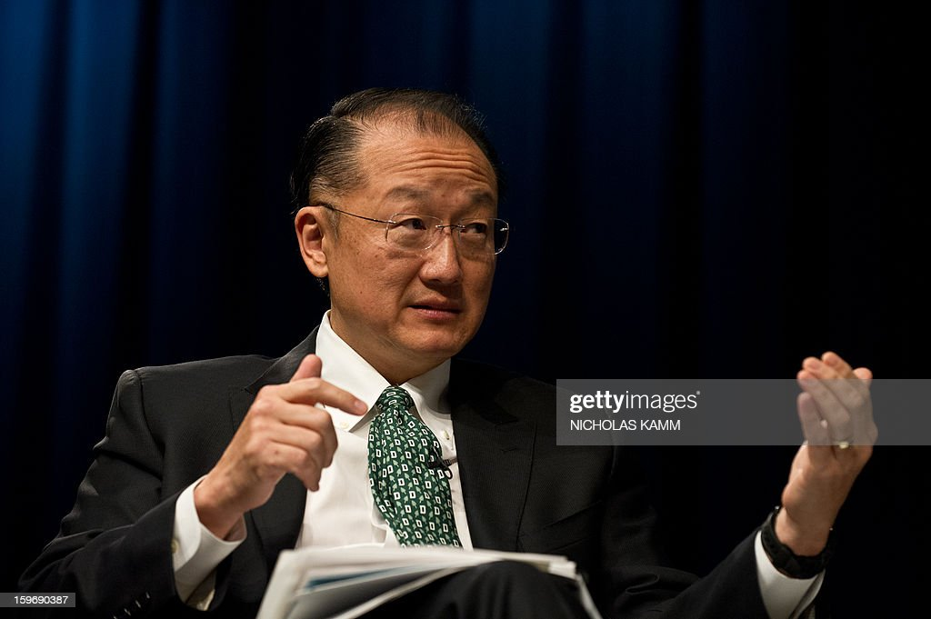 World Bank President Jim Yong Kim speaks at the annual Transforming Transportation conference at the World Bank in Washington,DC on January 18, 2013. AFP PHOTO/Nicholas KAMM