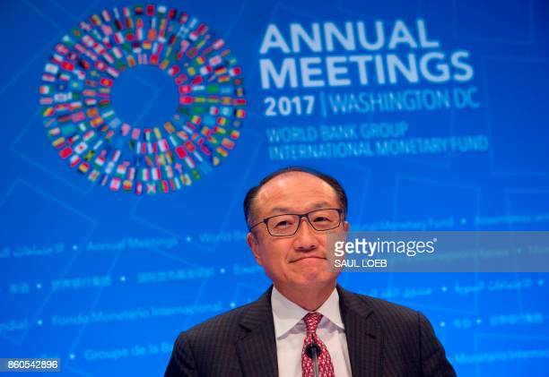 World Bank President Jim Yong Kim speaks during a press conference during the World Bank Group / International Monetary Fund Annual Meetings at IMF...