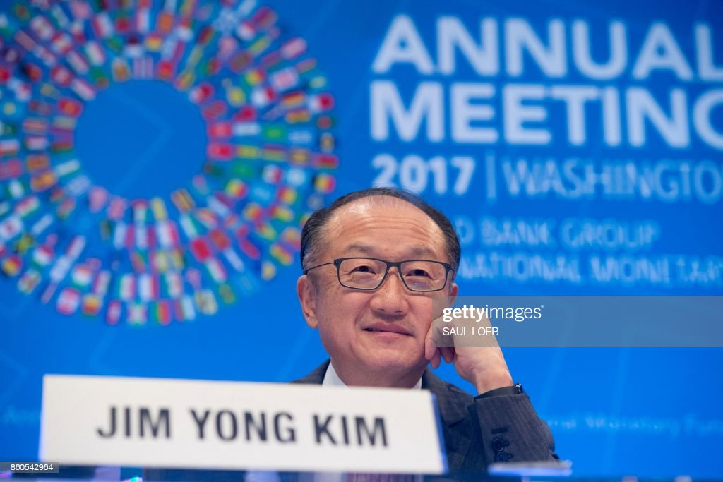 World Bank President Jim Yong Kim speaks during a press conference during the World Bank Group / International Monetary Fund Annual Meetings at IMF Headquarters in Washington, DC, October 12, 2017. /
