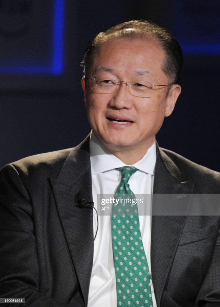 World Bank President Jim Yong Kim speaks on January 26, 2013, during the World Economic Forum (WEF) meeting in the Swiss resort of Davos. The WEF will see top politicians and business leaders pursue talks on whether they have seen the back of the global financial crisis.