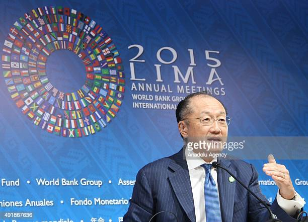 World Bank President Jim Yong Kim talks during a press conference as part of the annual meetings of the World Bank Group and the International...