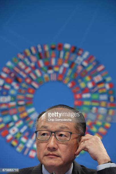 World Bank President Jim Yong Kim talks to reporters at a news conference during the World Bank and International Monetary Fund Spring Meetings April...