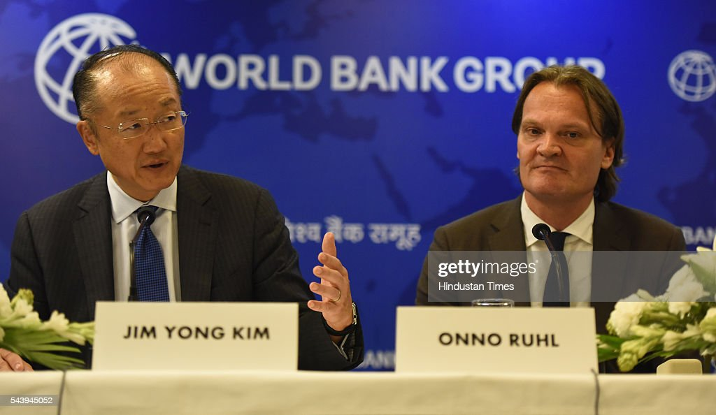 World Bank President Jim Yong Kim, World bank India director Onno Ruhl address media Perons during his visit in India and signing a deal to boost solar energy globally, on June 30, 2016 in New Delhi, India.