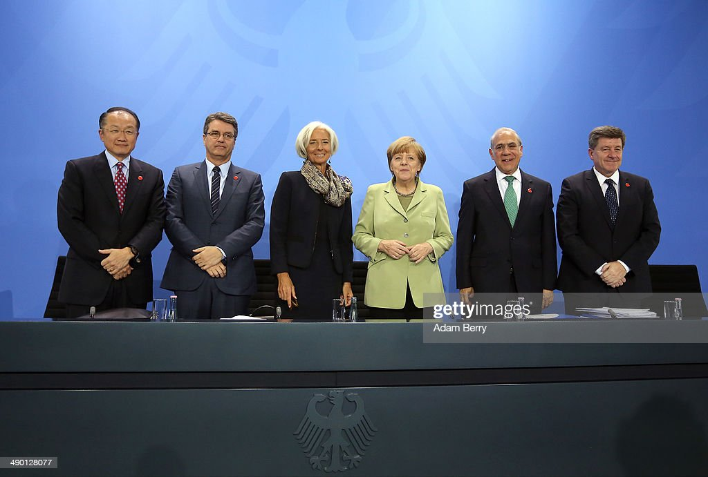Merkel Meets With World Finance, Economic And Labor Leaders