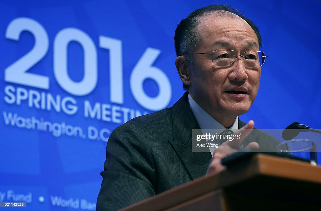 World Bank President Jim Young Kim speaks during a news conference April 14, 2016 in Washington, DC. The International Monetary Fund (IMF) and the World Bank Group hold their 2016 Spring Meetings from April 12-17.