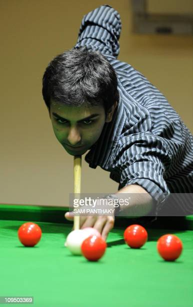 World Billiards Champion and Asian Games Gold Medalist India's Pankaj Advani plays a frame of snooker on the first day of Whistling Properties Asian...