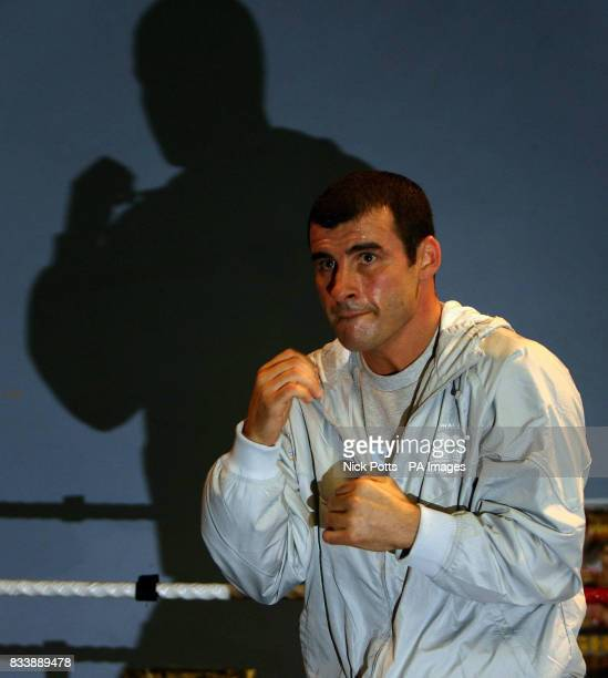 WBO World Boxing Champion Joe Calzaghe shadow boxes in the ring during a media workout at Enzo Calzaghe Boxing Gym Abercarn