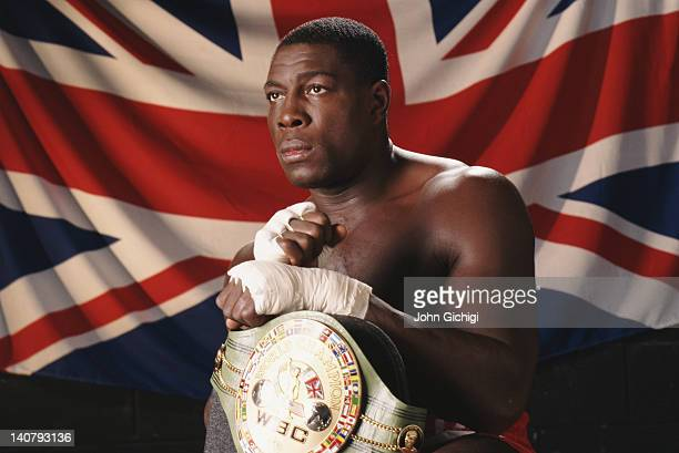 World Boxing Council heavyweight champion Frank Bruno of Great Britain poses with the WBC belt on 1st November 1995 at the Allsport studio in London...