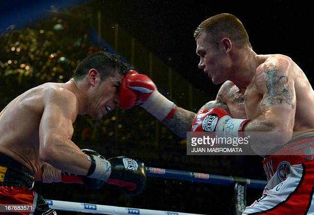 World Boxing Council middleweight defending champion Sergio 'Maravilla' Martinez of Argentina and challenger Martin Murray of Britain exchange...