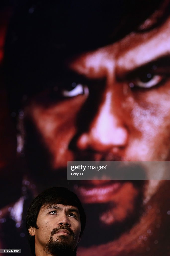 World boxing icon Manny Pacquiao attends a press conference on July 30, 2013 in Beijing, China. Pacquiao will fight with Rios in a welterweight bout at Venetian Macao in Nov. 24 in Macau.