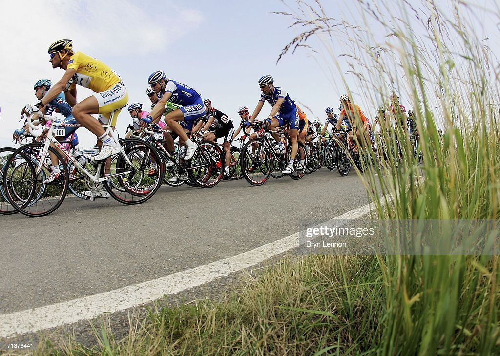 World Champion and race leader <a gi-track='captionPersonalityLinkClicked' href=/galleries/search?phrase=Tom+Boonen&family=editorial&specificpeople=221255 ng-click='$event.stopPropagation()'>Tom Boonen</a> of Belgium and Quickstep in atcion during stage 4 of the 93rd Tour de France from Huy to Saint Quentin, on July 4 2006, in Saint-Quentin, France.