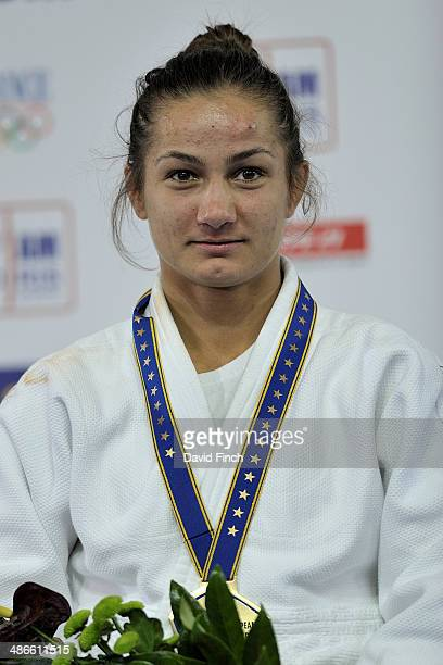 World champion Majlinda Kelmendi of Kosovo poses after winning gold in the Montpellier European Judo Championships on April 24 2014 at the ParkSuites...