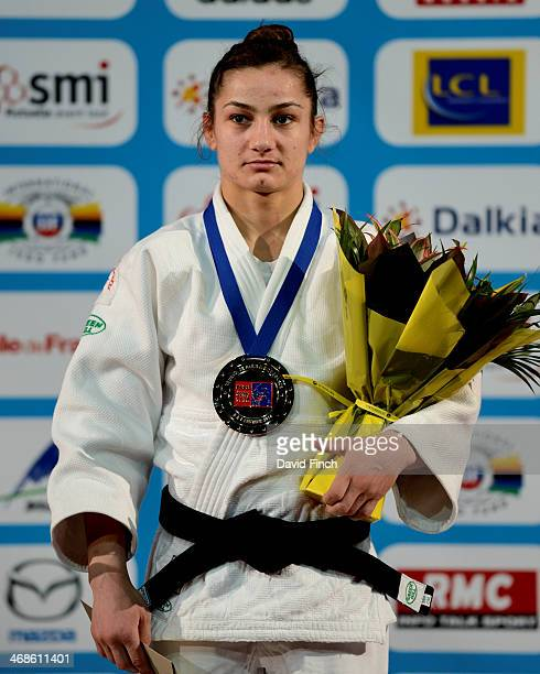 World champion Majlinda Kelmendi of Kosovo wears the u52kg gold medal during the Paris Grand Slam on day 2 Saturday February 08 2014 at the Palais...