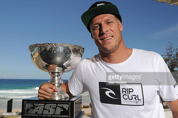 World Champion Mick Fanning poses for a photograph at Rainbow Bay SLSC on December 20 2013 on the Gold Coast Australia