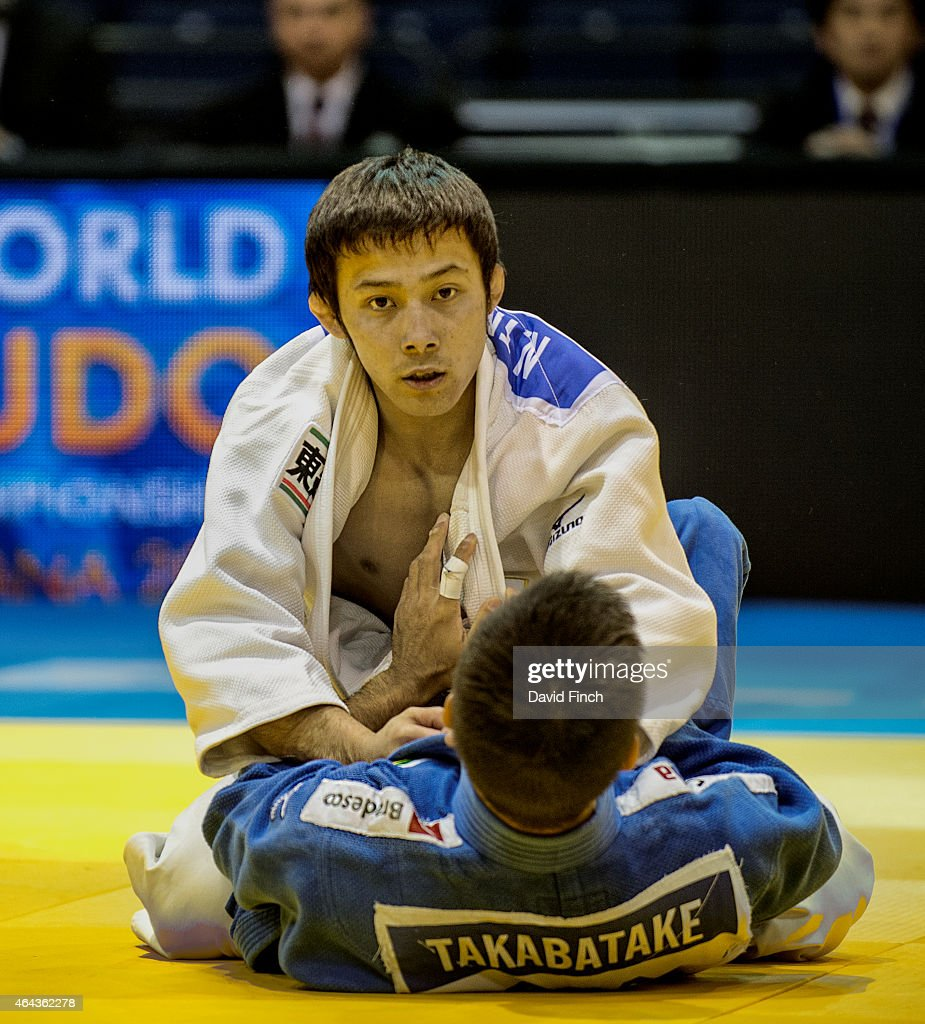 World champion, <a gi-track='captionPersonalityLinkClicked' href=/galleries/search?phrase=Naohisa+Takato&family=editorial&specificpeople=8718702 ng-click='$event.stopPropagation()'>Naohisa Takato</a> of Japan, defeated Eric Takabatake of Brazil by an ippon (10 points but then lost his next contest and was eliminated from the u60kg category during the Dusseldorf Grand Prix on Friday, February 20 2015 at the Mitsubishi Electric Halle, Dusseldorf, Germany.