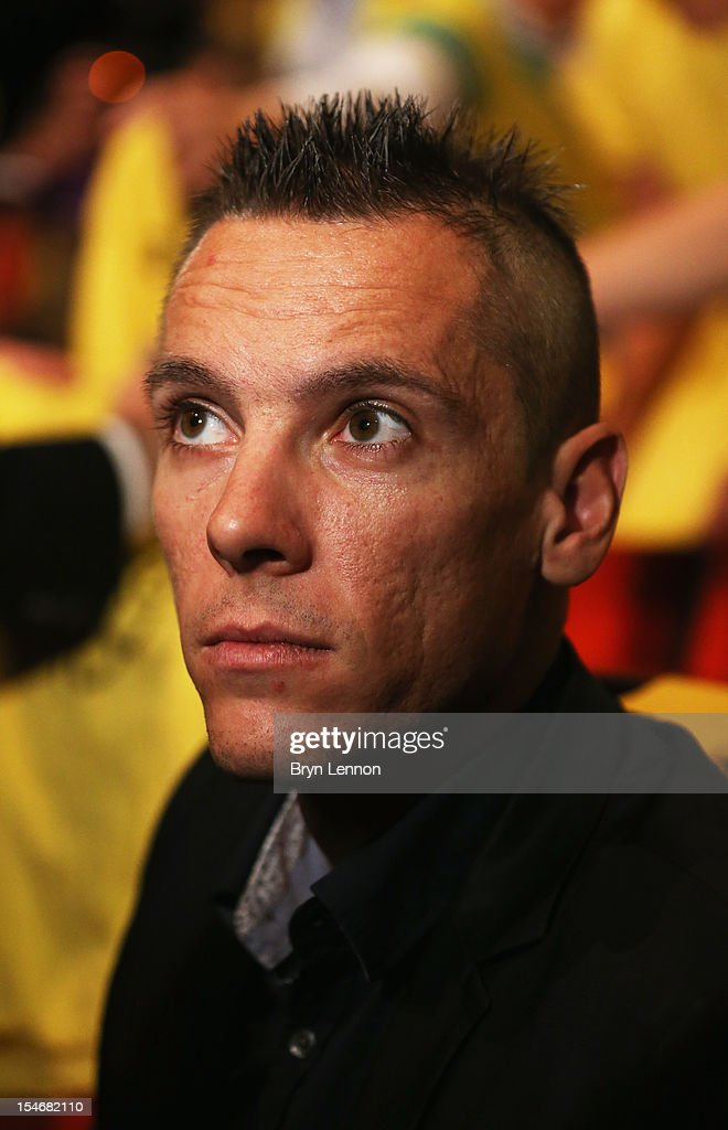 World Champion <a gi-track='captionPersonalityLinkClicked' href=/galleries/search?phrase=Philippe+Gilbert&family=editorial&specificpeople=578487 ng-click='$event.stopPropagation()'>Philippe Gilbert</a> of Belgium attends the 2013 Tour de France Route Presentation at the Palais des Congres de Paris on October 24, 2012 in Paris, France.