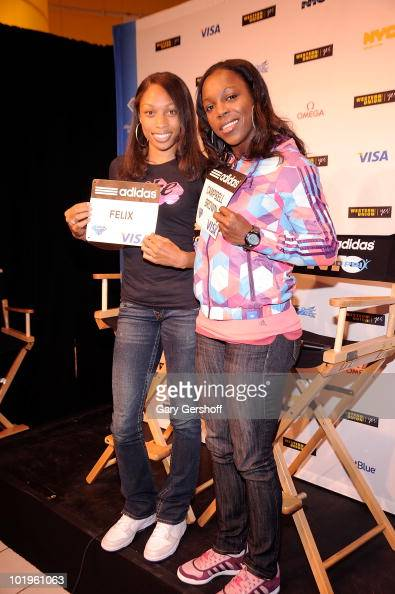 World Champion runners Allyson Felix and Veronica CampbellBrown attend the Addidas Grand Prix press conference at Western Union Times Square on June...