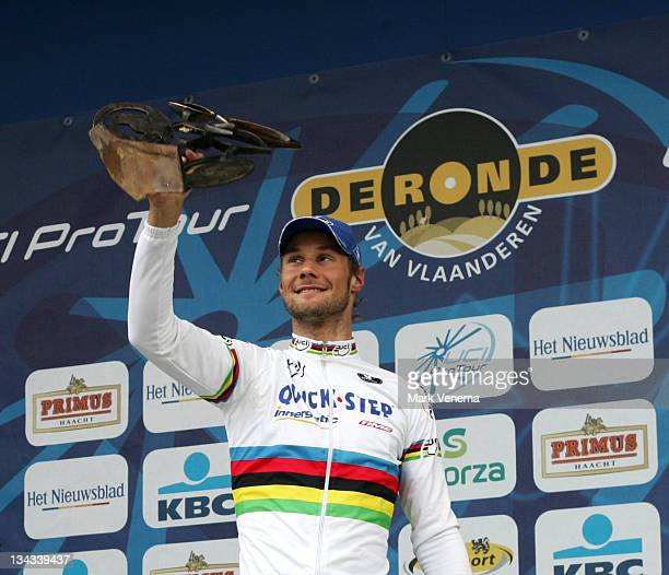 World Champion Tom Boonen of Cycling Team Quick Step Innergetic thanks his fans for their support after winning the 90th edition of the Tour of...