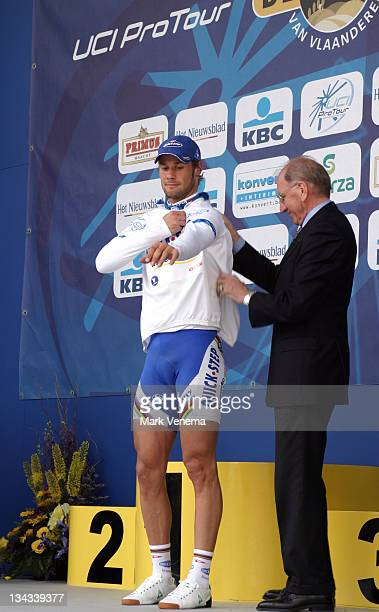World Champion Tom Boonen of Cycling Team Quick Step Innergetic is the new leader in the ProTour 2006 and gets the white jersey after finishing 1st...