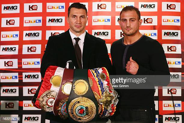 World Champion Wladimir Klitschko of Ukraine and challenger Francesco Pianeta pose after a press conference ahead of their upcoming heavyweight...