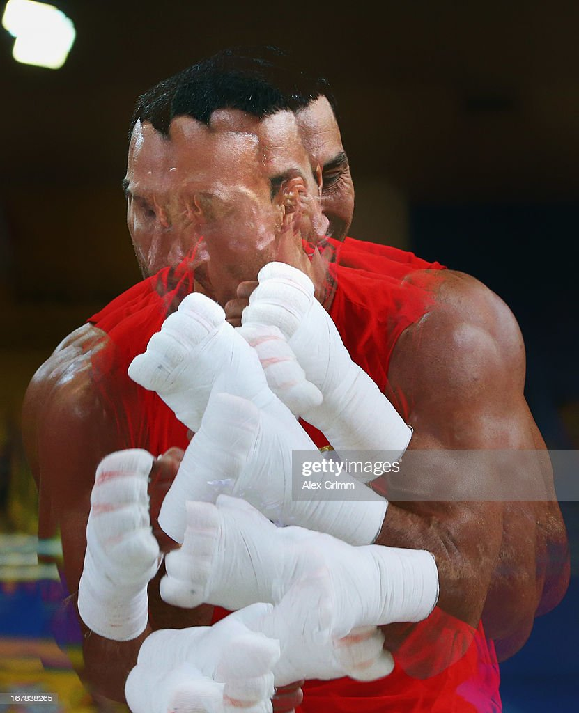 World Champion <a gi-track='captionPersonalityLinkClicked' href=/galleries/search?phrase=Wladimir+Klitschko&family=editorial&specificpeople=210650 ng-click='$event.stopPropagation()'>Wladimir Klitschko</a> of Ukraine exercises during the official training session ahead of his IBF, WBA, WBO and IBO World Championship fight against challenger Francesco Pianeta on May 1, 2013 in Heidelberg, Germany.