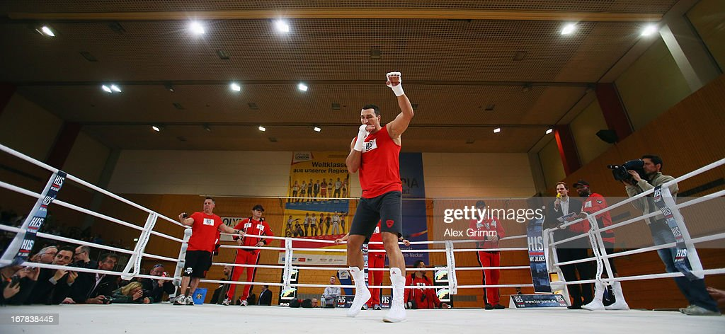 World Champion Wladimir Klitschko of Ukraine exercises during the official training session ahead of his IBF, WBA, WBO and IBO World Championship fight against challenger Francesco Pianeta on May 1, 2013 in Heidelberg, Germany.