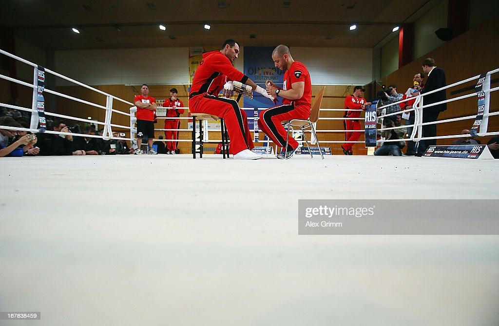 World Champion <a gi-track='captionPersonalityLinkClicked' href=/galleries/search?phrase=Wladimir+Klitschko&family=editorial&specificpeople=210650 ng-click='$event.stopPropagation()'>Wladimir Klitschko</a> of Ukraine gets his hands bandaged during the official training session ahead of his IBF, WBA, WBO and IBO World Championship fight against challenger Francesco Pianeta on May 1, 2013 in Heidelberg, Germany.