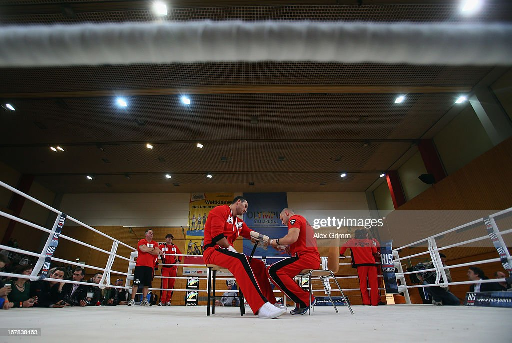 World Champion Wladimir Klitschko of Ukraine gets his hands bandaged during the official training session ahead of his IBF, WBA, WBO and IBO World Championship fight against challenger Francesco Pianeta on May 1, 2013 in Heidelberg, Germany.