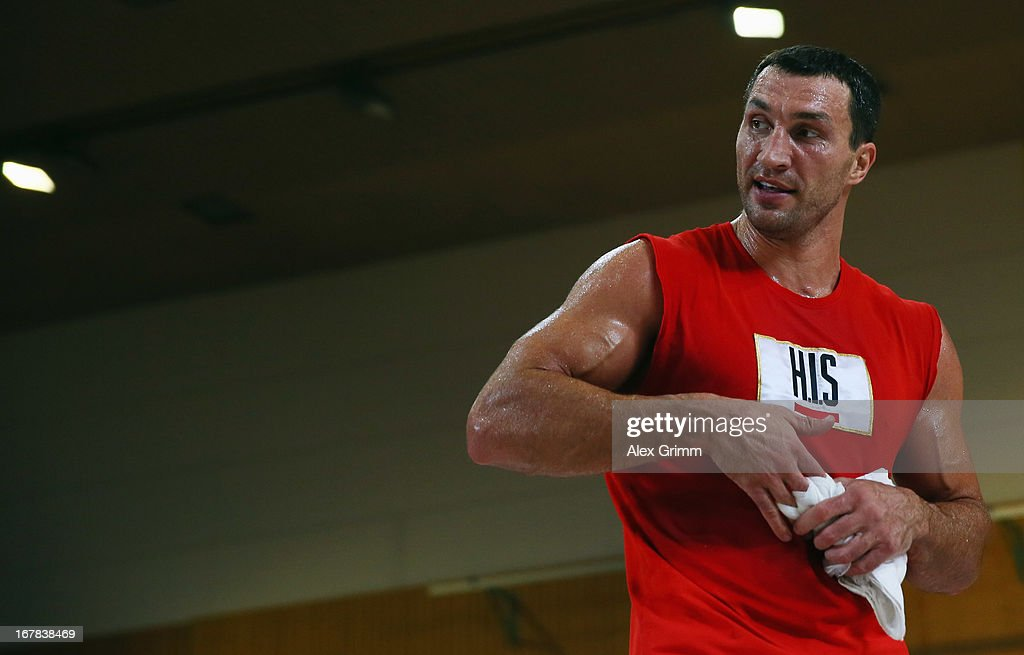 World Champion <a gi-track='captionPersonalityLinkClicked' href=/galleries/search?phrase=Wladimir+Klitschko&family=editorial&specificpeople=210650 ng-click='$event.stopPropagation()'>Wladimir Klitschko</a> of Ukraine looks on during the official training session ahead of his IBF, WBA, WBO and IBO World Championship fight against challenger Francesco Pianeta on May 1, 2013 in Heidelberg, Germany.
